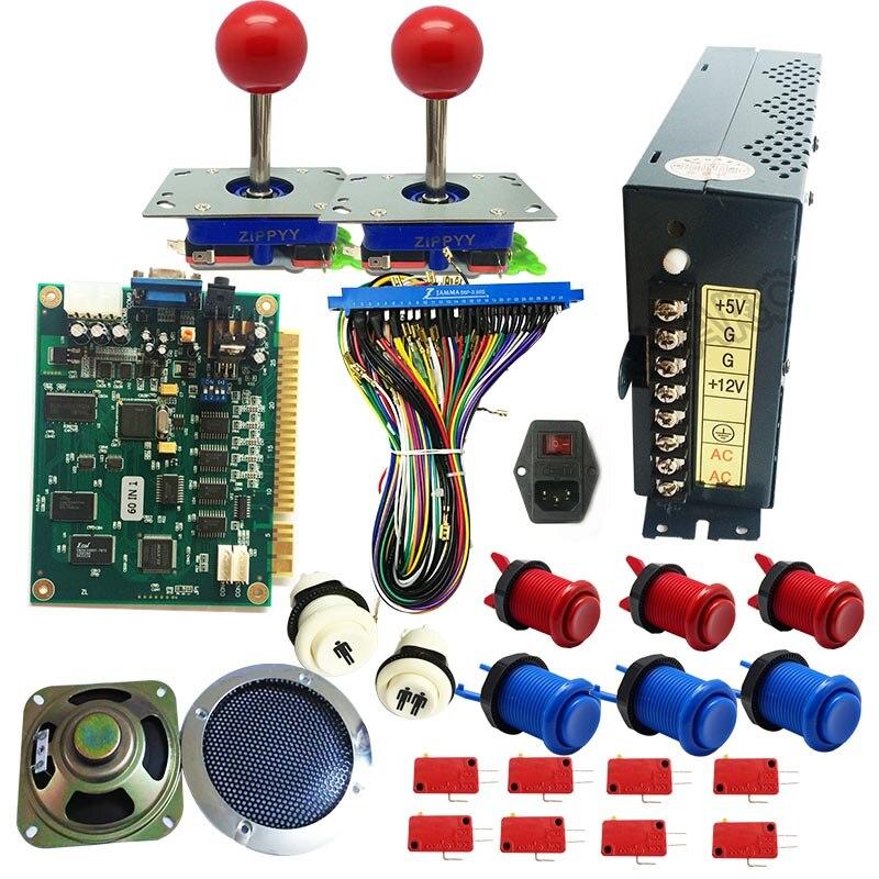 Jeu d'arcade classique JAMMA 60 en 1 kit avec alimentation 24 V, haut-parleur, joystick zippy, bouton poussoir américain, fil jamma, pieds de PCB