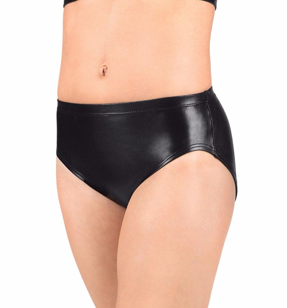 Women Low Elastic Waistband Adult Metallic Dance Briefs Gold Shiny Performance Shorts Sport Workout Team Underwear Black