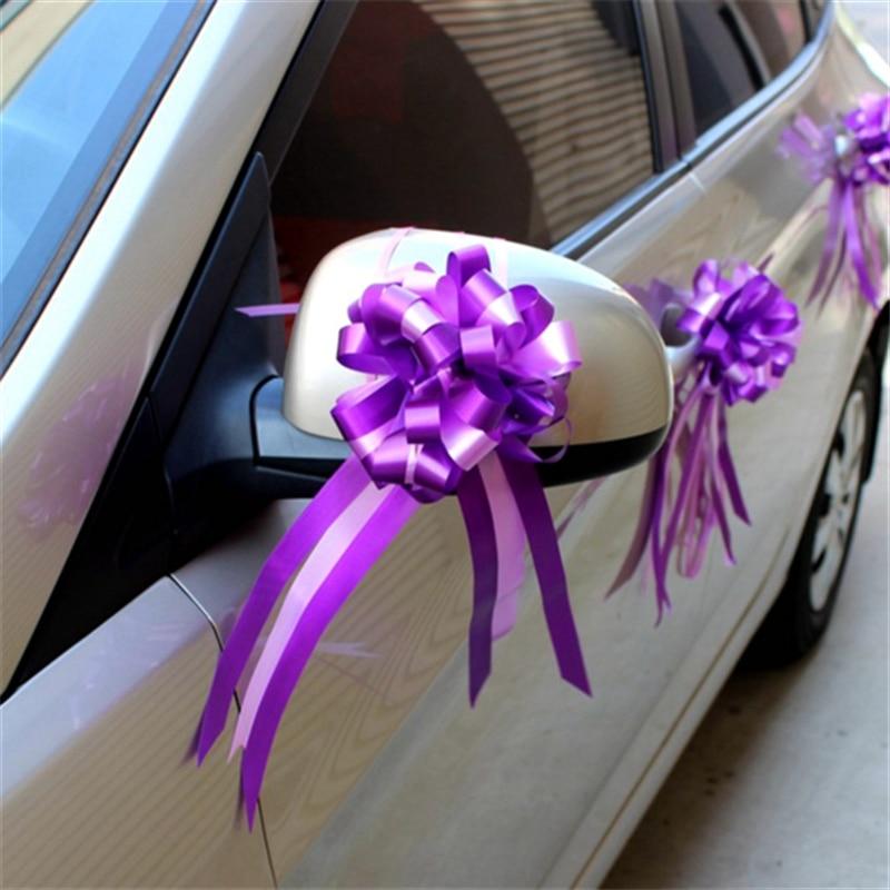 Wedding Car Decoration Diy : Cheap wedding car decor pull bow ribbon flower pink purple white diy