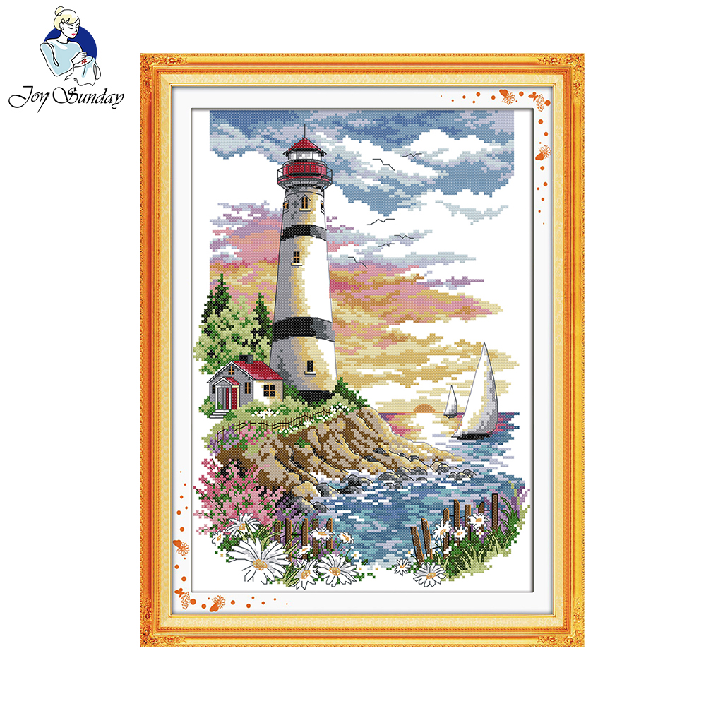 Joy Sunday Scenic Style Lighthouse Good Gift Counted Cross Stitch Kits For Kids