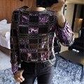 Novo 2017 das mulheres top camisa blusa xadrez moda roxo lantejoula beading coreano camisa mulheres tops de manga longa de alta qualidade clothing