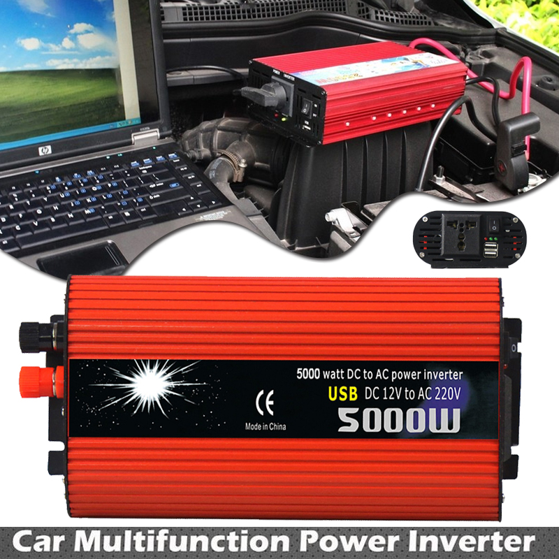 Car Inverter 5000W DC 12V to AC 220V Power Inverter Charger Converter Transformer Vehicle USB Pure Sine Wave Power Auto Adapter