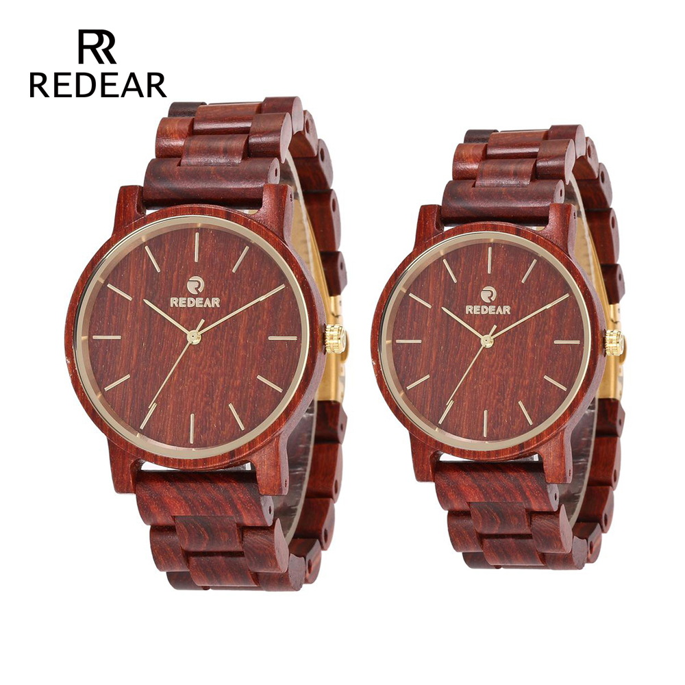 REDEAR His-and-hers Watches Red Sandalwood Wrist Watch Japan Movement Quartz Watch Fashion Valentines Gift