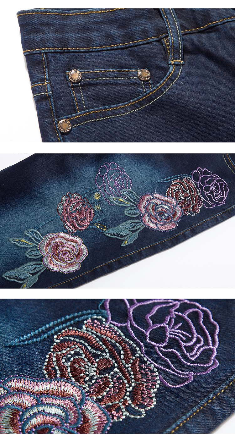 FERZIGE Women Jeans Embroidery Floral High Wast Slim Stretch Pencils Denim Pants Long Trousers Push