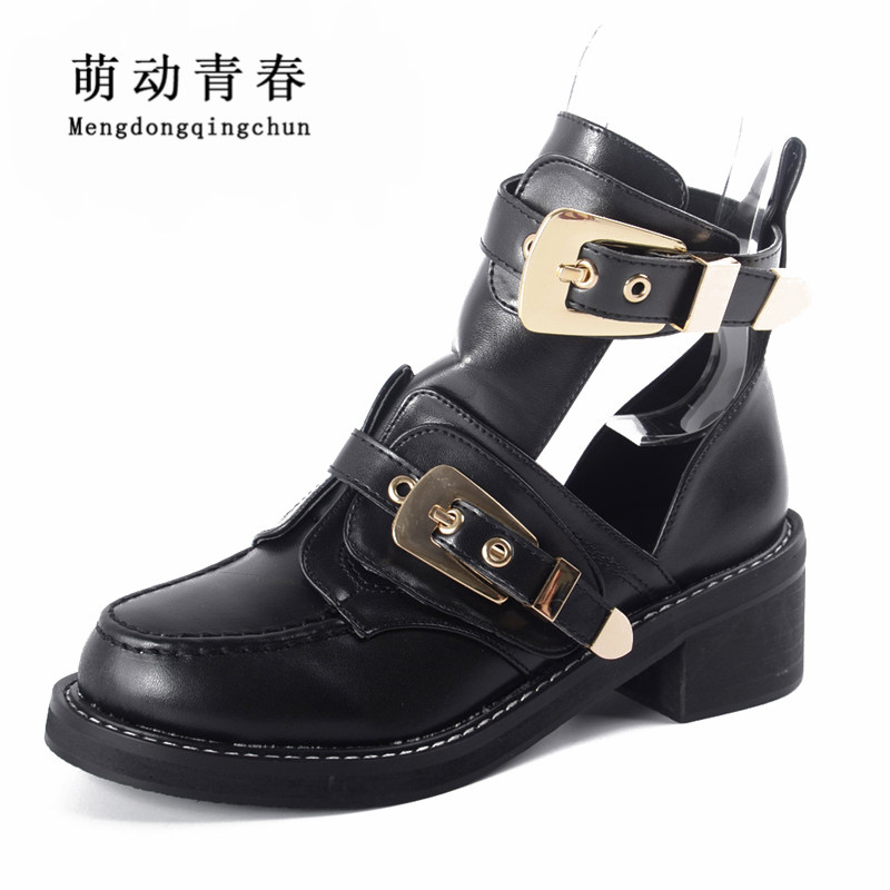 High quality Brand Luxury Summer style Women Ankle Boots heels buckle hollow