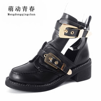 High quality 2018 Brand Luxury Summer Style Women Ankle Pumps Heels Buckle Hollow Leather Woman Shoes Punk Women Pumps