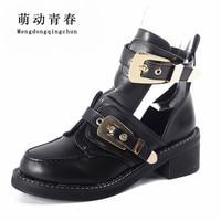 Size 35 40 High quality Snake Summer Boots Women Ankle Pumps Heel Buckle Hollow Leather Woman Shoes Punk Platform Women Pumps
