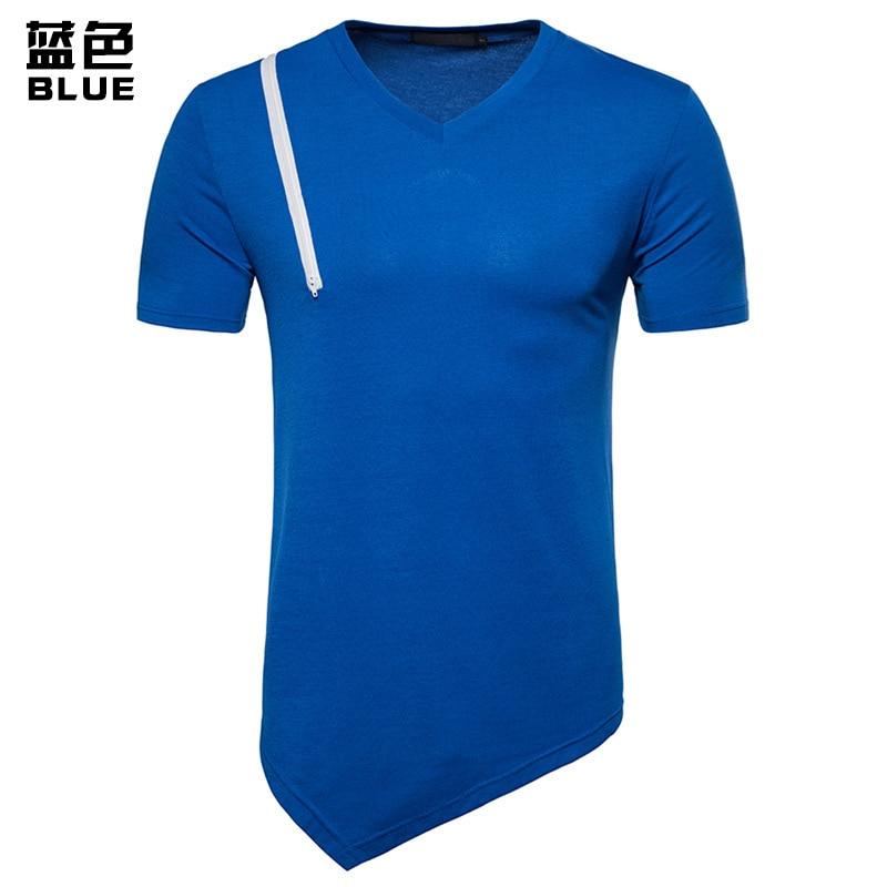 Summer fashion tshirts zipper design hip hop long T shirts mens clothing t shirt men short sleeve 4colour
