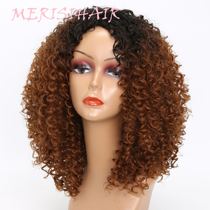 MERISI HAIR Long Kinky Curly Afro Wig Blonde Mixed Brown Color Synthetic Wigs for Black Women Heat Resistant Fiber 250g  (1)