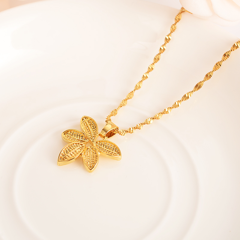 african gold dubai hemp pendant Necklace Women Party Gift <font><b>Cannabiss</b></font> Weed Marijuan Leaf charms women girls Fine Jewelry gift image