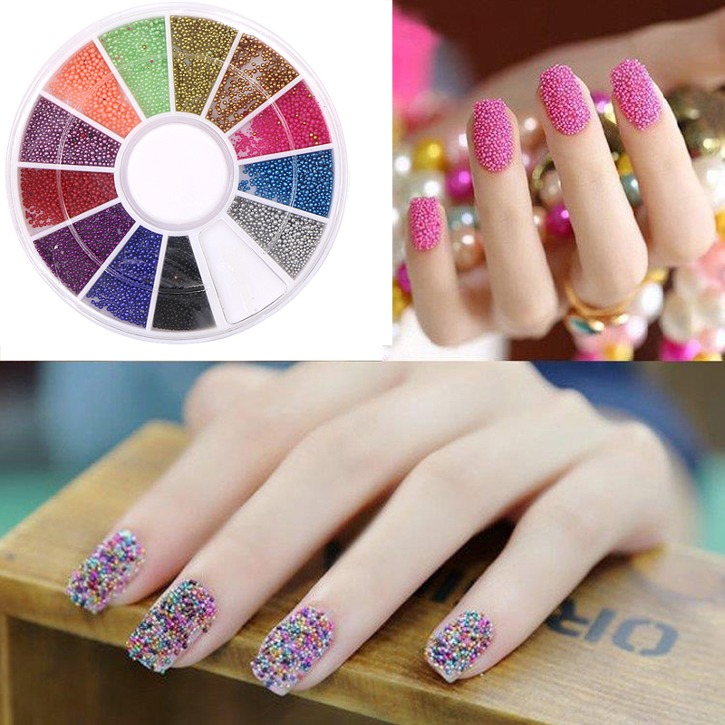 12Color Steels Beads Studs For Nails Metal Caviar Design Wheel ...