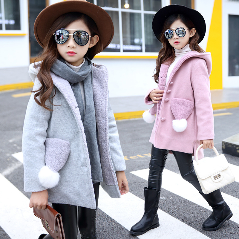 2018 new Children 's clothing girl wool coat woolen jacket winter cotton thicker coat 3-9 year цена