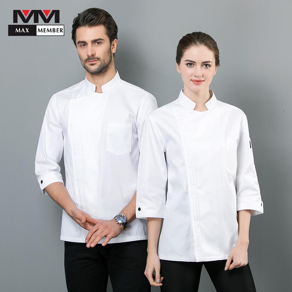 Chef Jacket Seven-quarter Sleeve Pure Color Diner Uniform Hotel Work Clothes Men Women Professional Sushi Costume Overalls