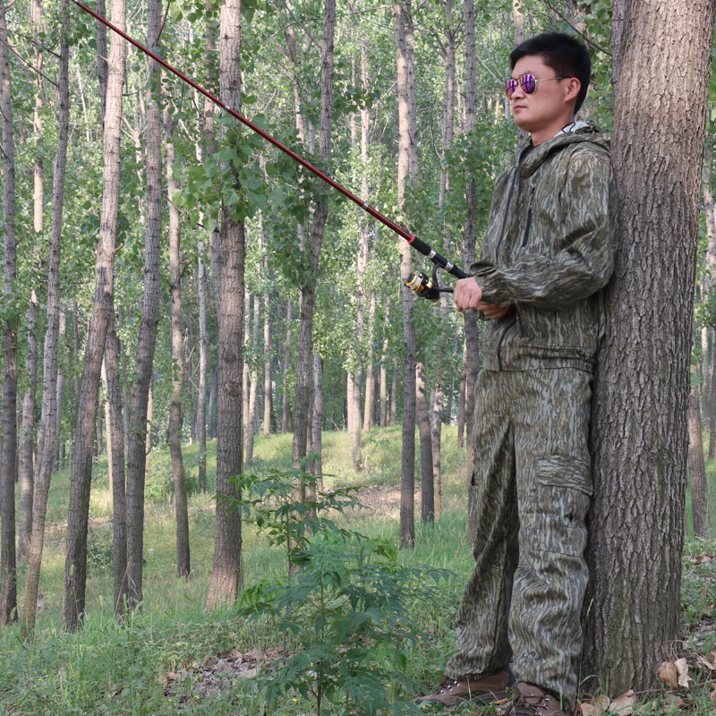 Outdoor forest bark bionic camouflage suit for hunting bird watching photography fishing free shipping hunting clothing pants jungie tactical bionic camouflage fishing bird watching hunting set water proof scratch