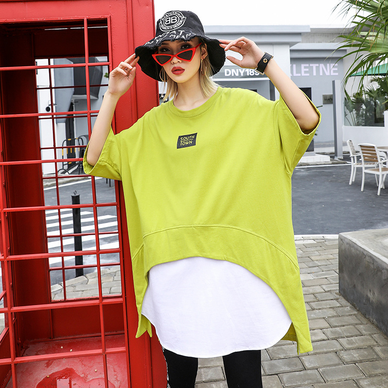Johnature False Two-piece 5 Colors Tops Summer Women New Patchwork Half-sleeve Loose Streetwear 2019  Irregular Women T-shirts