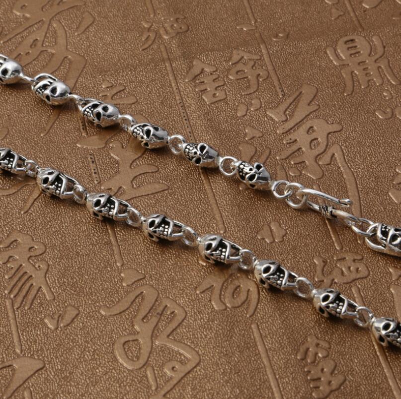 Plata pura S925 plata esterlina 925 joyería Retro cráneo hombres collar - 3