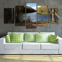 Wall Art 5Pcs River Definition Pictures Canvas Prints Home Decoration Living Room Modular Painting Print Cuadros