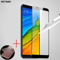 HOTSWEI Tempered Glass for Xiaomi Redmi 5 / Redmi 5 Plus Glass 18:9 Full Cover Screen Protector + Soft Back Protective Film Gift