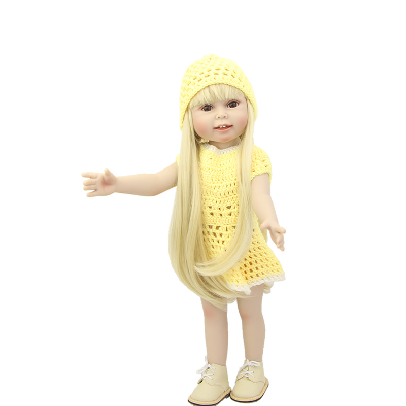 Yellow Fashion Dress 18 Inch 45 cm American Girl Blond Hair Lifelike Babies Doll Full Vinyl Body Toys Kids Birthday Xmas Gift lifelike american 18 inches girl doll prices toy for children vinyl princess doll toys girl newest design