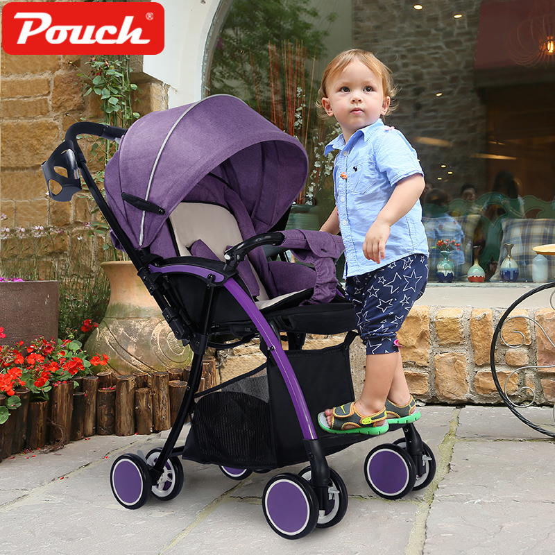 Pouch ultra-light baby trolley folding portable  two-way push winter and  summer strollers