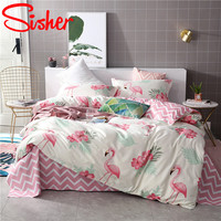 Sisher Home Textile Cute Birds Bedding Sets Pink Blue Bedclothes Duvet Cover With Pillowcase 2/3 PCS