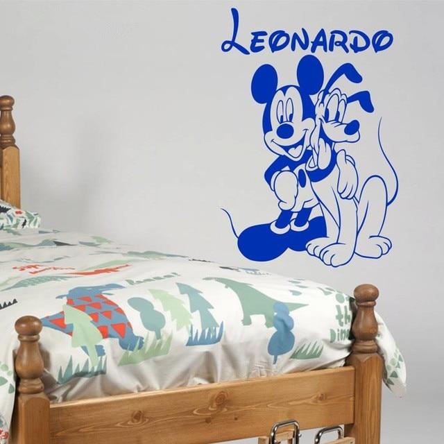Personalisierte Name Mickey Maus Und Pluto Vinyl Wandaufkleber Kunst