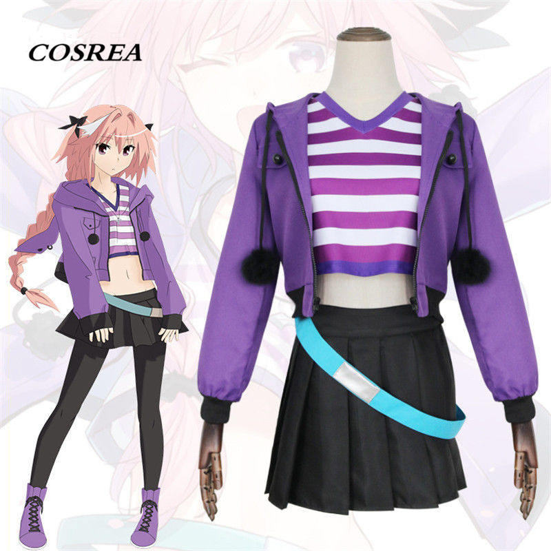 COSREA Fate Grand Order FGO Apocrypha Cosplay Costume FA Rider Astolfo Full Set Suit Purple Costumes Halloween Party For Women