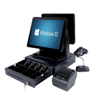 full set of retail dual screen point of sale supermarket pos system High end pos terminal all in one machine cash register