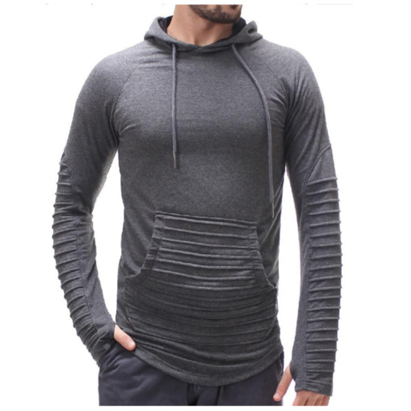 Mens Casual long sleeve Hooded Striped Pleated Pullover fashion hoodie hoody 3colour