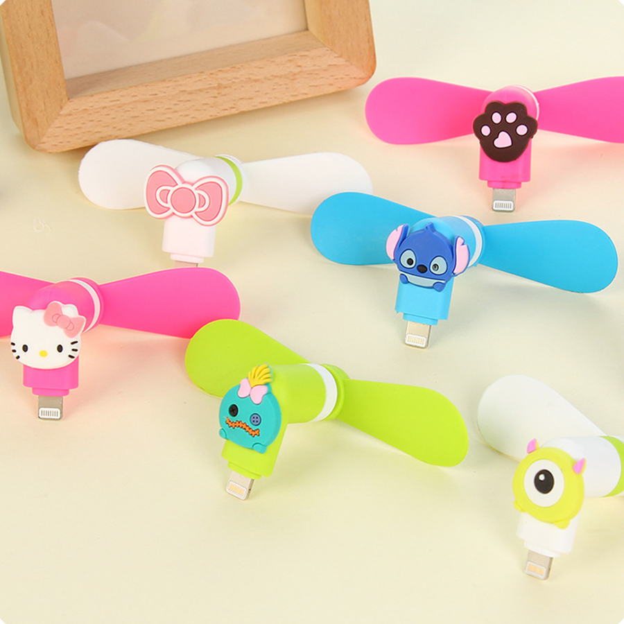 Mini Portable Fan Mini Cute Cartoon 8 Pin Micro Usb Flexible