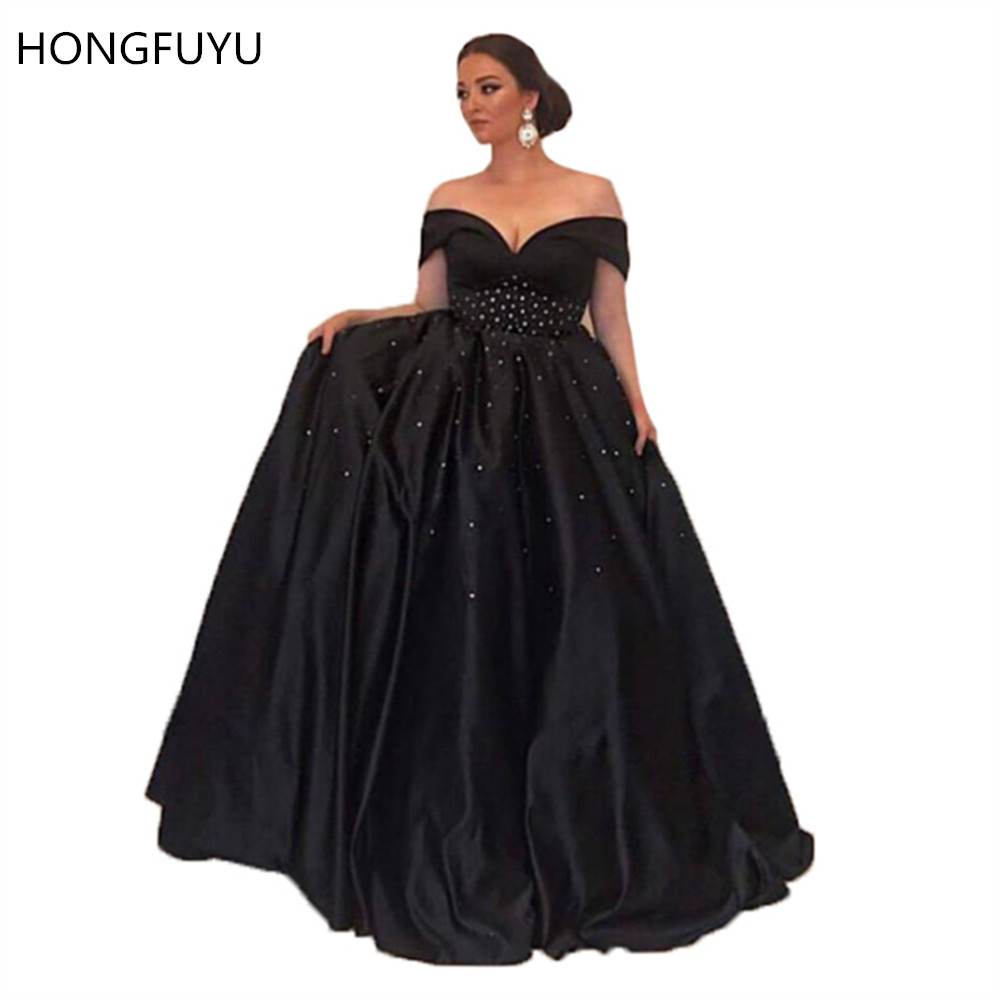 HONGUYU Black Satin Plus Size Prom Dresses Long Beaded Elegant Off Shoulder Vestidos De Fiesta Evening Party Gowns Sleeveless
