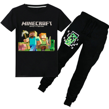 Children's cartoon Minecraft T-shirt boys and girls cotton Summer short-sleeved T-shirt + pants children's suit clothing 6-14Y 2018 minecraft pants long sleeve suit boy clothing jacket spring and autumn hooded sweater suit children s t shirt 6 14y