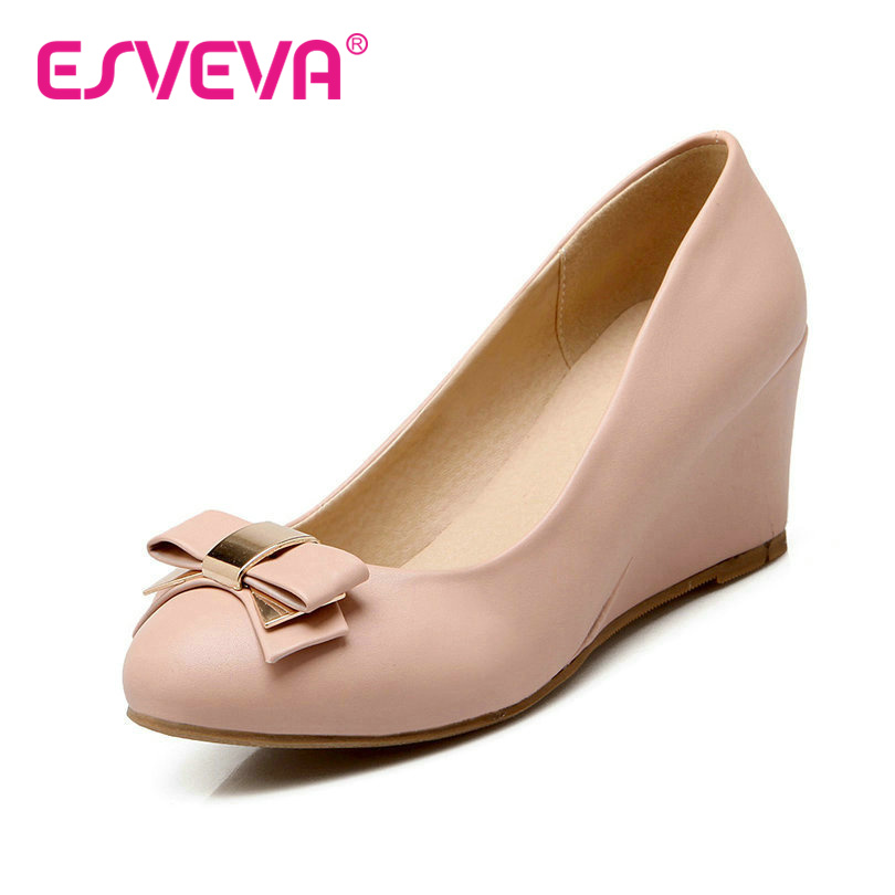 ESVEVA Wedges High Heels Women Pumps Slip On Pu Soft Leather Round Toe Bow Tie Solid Autumn/Spring Lady Shoes Size 34-42 Pink 2017 shoes women med heels tassel slip on women pumps solid round toe high quality loafers preppy style lady casual shoes 17