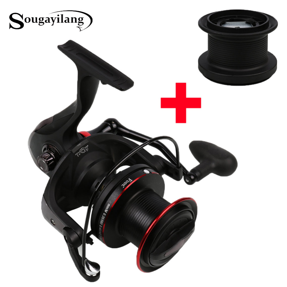 Sougayilang 10000 Carp Reel with Spare Spool 670g 4.1:1 Gear Ratio Surf Casting Reel 13+1BB Long Shot Fishing Spinning Reel mikado ace carp 10007 6 1подш gear ratio 4 7 1 сист своб хода