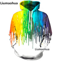 Liumaohua Newest 3D Rainbow Hooded Men's and Women's New Fashion Water Drop Sweatshirt Funny Print Oil Painting Hoodie Tops S 5X