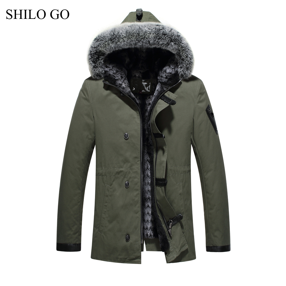 5XL New Mens Winter Army Green Jacket Coats Thick Parkas Plus Size Real Fox Fur Collar Hooded Rabbit Fur Lining Outwear Fur coat new anorak winterjacke 2017 army green womens parka coats real large raccoon fur collar detachable fox fur lining hooded outwear