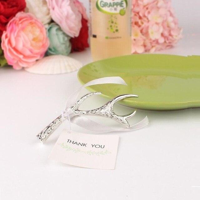 free shipping 50pcs lot bulk metal wedding favors and gifts bridal shower giveaway gift sliver antler