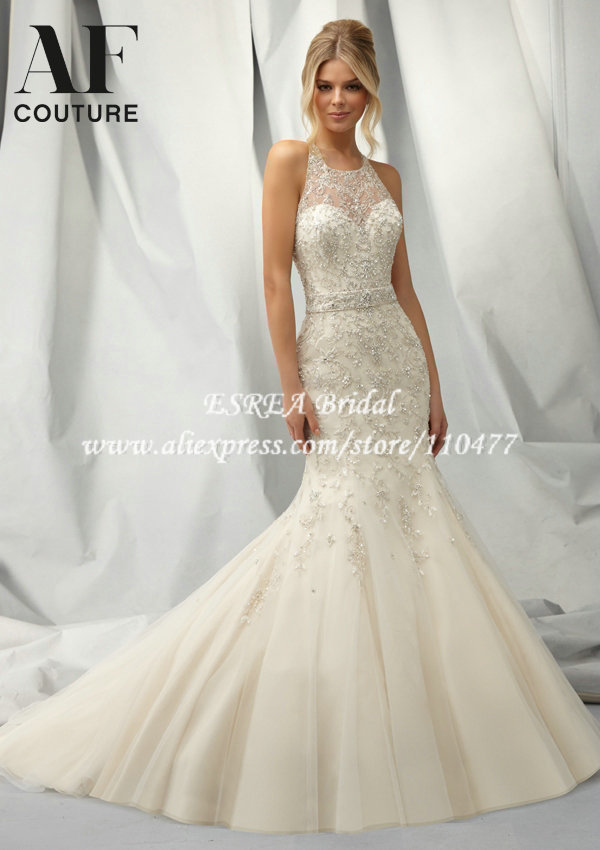 Beaded Halter Luxury Crystal Wedding Dress Mermaid Wedding Gowns ...