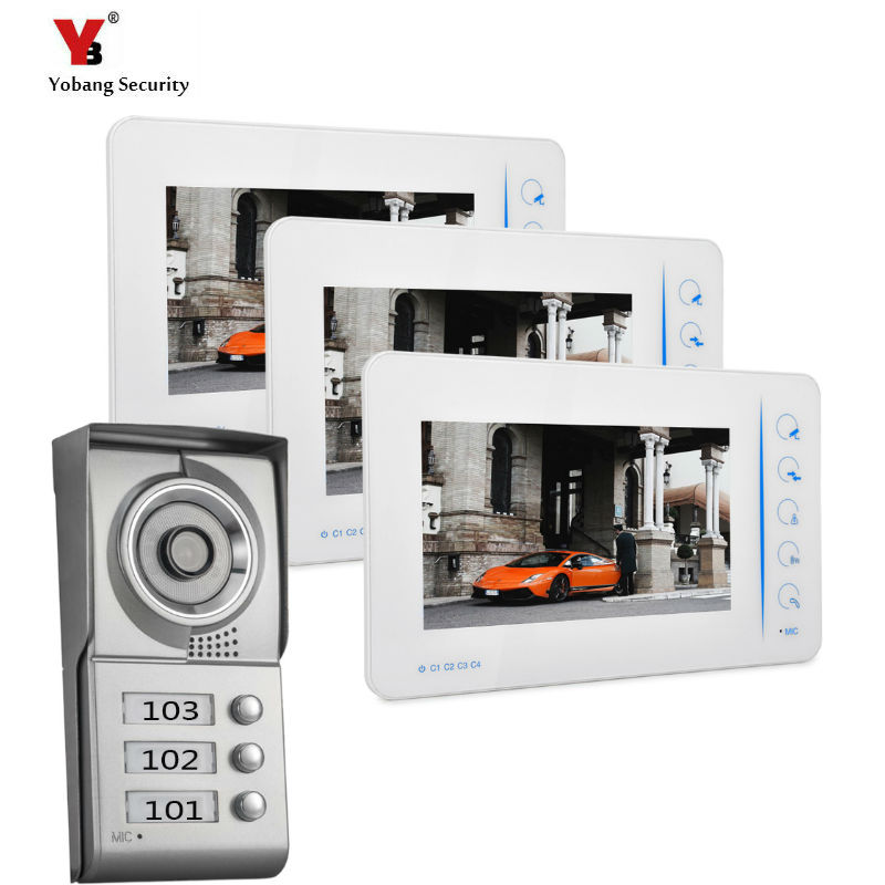 YoBang Security 7 Inch TFT Touch Screen Color LCD Video Door Phone Wired Video Intercom 3 white Monitor Doorbell Intercom system jeatone 7 inch video door phone doorbell intercom with 600tvl outdoor camera ip65 on door video intercom security system 4 wired