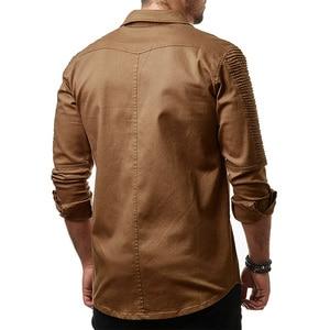 Image 4 - Hcxy 2019 秋男性のジーンズシャツビッグサイズ男性長袖デニムシャツ洗浄長袖のジーンズのシャツ倍の装飾