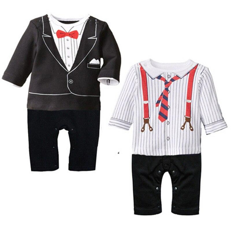 28bc067818452 Nouveau-Né Bébé Garçon Vêtements Coton Bébé Barboteuses Arc Cravate  Gentleman Infantile Combinaisons Roupas Bebe Garçons Costume