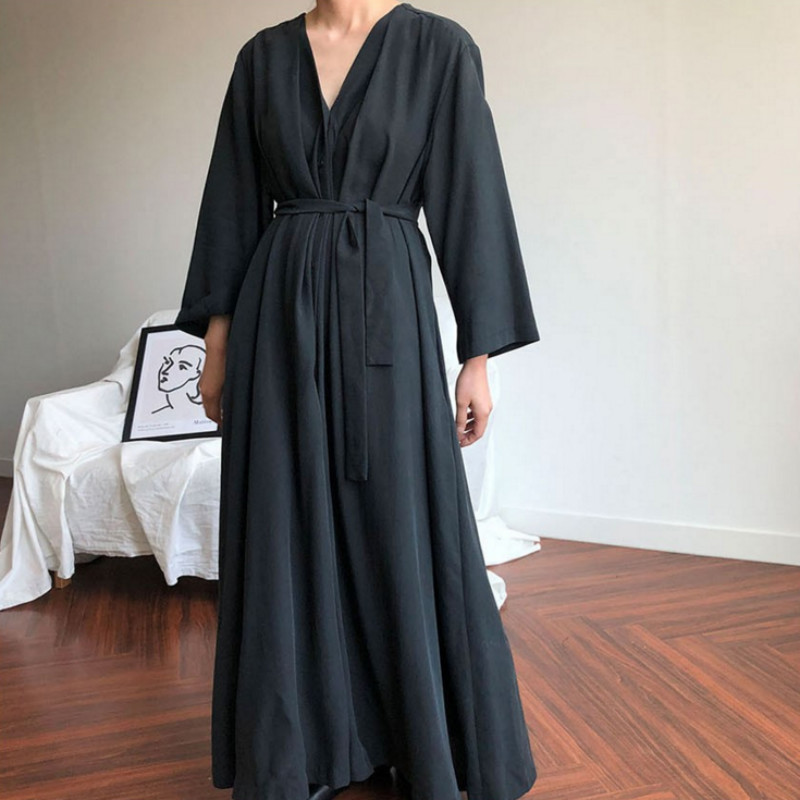 Women Korean Autumn Long Shirt Dress Sexy V-neck Full Sleeves Vestido with Belt Vintage Plus Size Robe Femme Elegant Longue