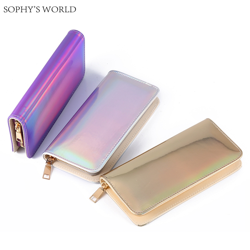 Hologram Zipper Clutch Wallet Women Long Wallets Money Purse Female