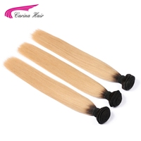 Carina Hair T1B/27# Color Straight Hair Weft Bundles 3PCS Ombre Dark Root 27# Peruvian Remy Human Hair Extensions