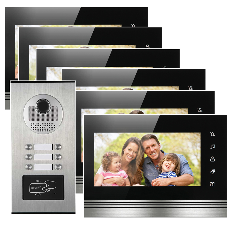 6 Apartments Security Interfone Video Door Phone Doorbell Camera Support Clear Night Vision And With RFID Card Reader