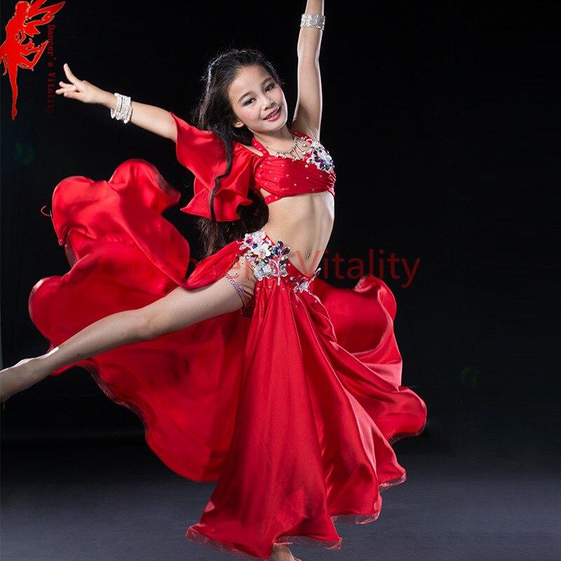 Robe de luxe en soie à la main perlé danse du ventre costume fille 3 pièces ensemble pour enfants stage performance jupe rouge bleu royal