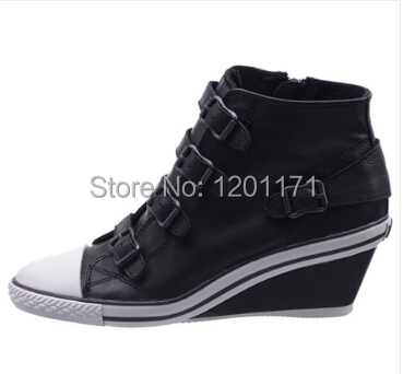 63a816ac648 Ash Genial Ter Womens Wedge Sneaker Black Leather Sneakers Free Shipping