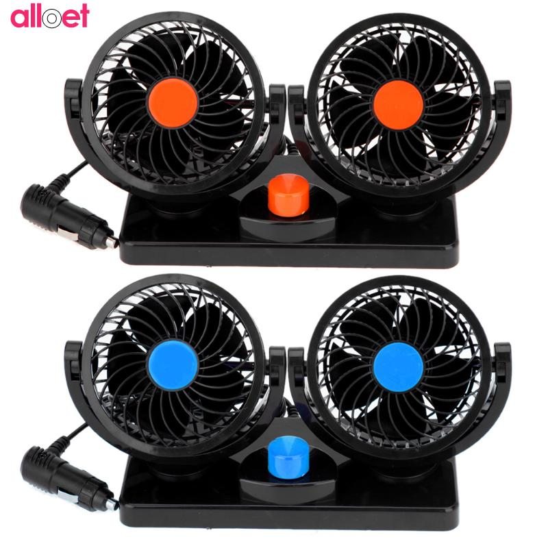360 Rotating Free adjustment Dual Head Car Auto Cooling Air Fan Mini Electric Car Fan Low Noise Summer Car Air Conditioner цена