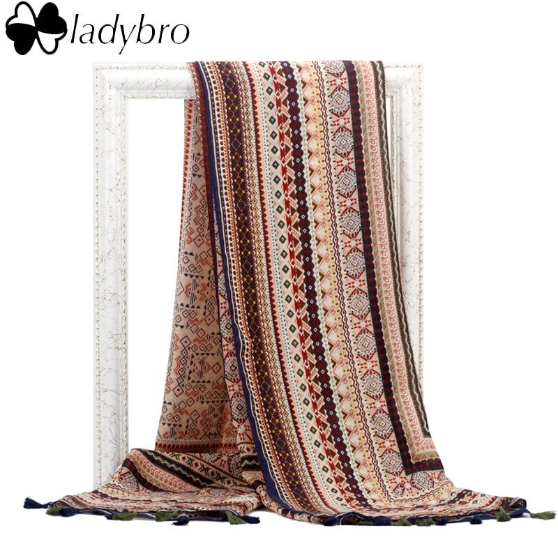 Ladybro Brand Design Women Scarf Winter Bohemia Tassels Cotton Scarf Warm Long Scarves And Shawl Wrap New Hijab For Female