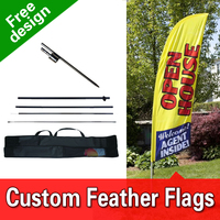 Free Shipping Double Sided In ground Spike Blade Flags Advertising Outdoor Feather Banners Custom Feather Banners